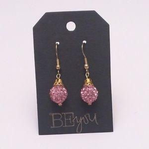 Handmade Pink Shamballa Bead Drop Earrings